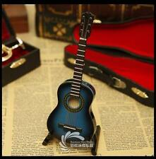 Mini musical instruments Wooden blue guitar model Decoration gifts 10cm