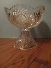 American Brilliant Period Cut Glass Punch Bowl & Base 2 pieces