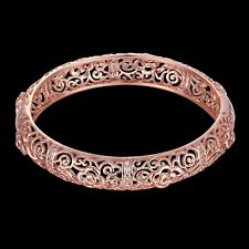Women 18K Rose Gold Filled Crystal Hollow Rose Flower Bracelet Bangle