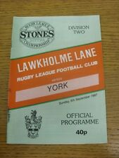 06/09/1987 Rugby League Programme: Lawkholme Lane v York  . Condition: We aspire