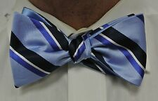 "NEW! Hand Made.100% Silk CHINA BLUE REVERSIBLE Stripes SELFTIE Bow Tie.2.5""wide."