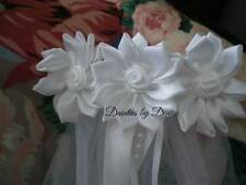 First Communion Veil with 3 Satin Flowers with Ribbon & Pearl Streamers NEW