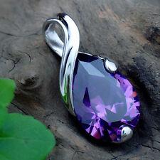 Mujer Preciosa Collar Lujo Gargantilla Colgante Piedra Cristal Amatista Necklace