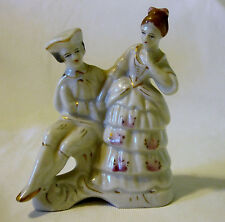 Vintage Occupied Japan Colonial Victorian Man Lady Couple Figurine Gold Trim