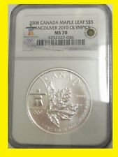 2008 CANADA MAPLE LEAF 1 OZ SILVER 9999 NGC MS 70 RARE LOW POP LOW MINT