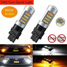 2X 7443 T20 42SMD 2835 LED Lights Car Dual Color Switchback Reverse Turn Signal