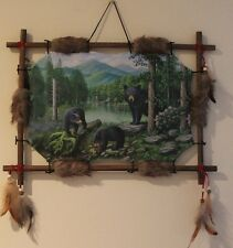 Indian Picture Bear Dream Catcher Mandella 22 x16 beads feathers Framed