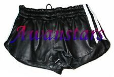 AW540 SPORTS LEATHER SHORTS WITH LEATHER LINING AND STRIPES,HOTPANTS ledershorts