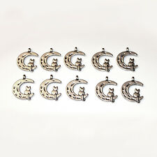 10pcs Tibetan Silver Cat on Moon Charms Pagan/Celtic