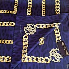 NWT ROBERTO CAVALLI PURPLE LOGO GOLD CHAINS GEOMETRIC PRINT 100% SILK SCARF
