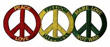 """3 Peace Sign """"Love, Freedom, Happiness"""" Patch Make Love Not War Iron-On Applique"""