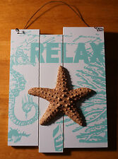RELAX - STARFISH SEAHORSE CORAL BEACH SIGN Aqua Blue Coastal Wood Home Decor NEW