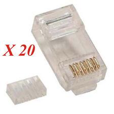 Lot 20 CAT 6 Plugs 2 parts,CAT 6 Module, RJ45 Plug for solid CAT6 Cable CAT6 end