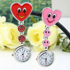 Cute Smile Face Heart Shape Nurse Quartz Clip-on Fob Pocket Watch Pin Brooch UL