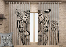 2 pcs Original design Curtains , Drapes with photo printing TIGER  for windows