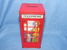 Vintage Old Tin Telephone Box Money Bank Saving Tin Advertising Hinged