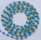 5 Feet Turquoise Chalcedony Link Beaded Chain 24k Gold Plated 3.50mm