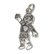 Sterling Silver .925 Oxidized Happy Boy with Heart, Charm Pendant | Made in USA