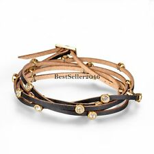 Ladies Brown Cord Wrap Leather Bracelet Wristband w  Shiny Round Rhinestones