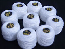 ANCHOR Pearl Cotton,10 White Balls Box.Size 8,85 Mtrs each