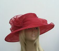 New Womens Poppy Red Organza Wedding Hat Mother Of The Bride/Groom Ascot Races