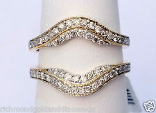 Solitaire Enhancer Vintage Milgrain 0.60 Diamonds Ring Guard Wrap Yellow Gold