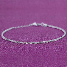 Women 925 Silver Simple Twisted Rope Anklet Barefoot Sandal Foot Chain Jewelry