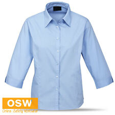 LADIES 3/4 SLEEVE BUSINESS CORPORATE OFFICE SHIRT- BLACK/WHITE/BLUE - SIZES 6-24