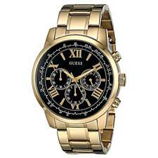 Guess U0379G4 Men's Black Dial Yellow Steel Bracelet Chrono Watch