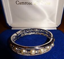 "JACQUELINE KENNEDY CAMROSE & KROSS QVC 7"" SILVER TONE WEDDING BANGLE BRACELET"