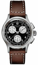Montre Hamilton H76412533 cuir marron Kaki Aviation Crono Quartz noir