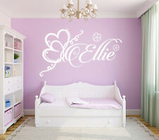 Hearts /Flowers Sticker Decal Girls Wall ANY Name Bedroom Art Decor Personalised