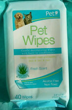Pet Wipes Thick, Gentle, Non-Toxic  Bathing /Grooming Dog or Cat Wet Wipes 40 CT