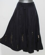 MONSOON Dark Grey Charcoal Silk Satin Sequin Midi Skirt 12 EU 40 M Formal