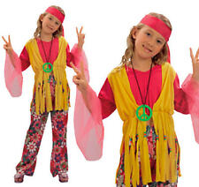 Childrens Hippy Girl Fancy Dress Costume 60'S 70'S Flower Power Kids Outfit M