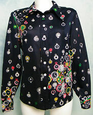 WOMEN's VtG 70s DiScO BiG ReTrO COLLAR POCKET WATCH CLOCK PRiNT TOP SHiRT M/L
