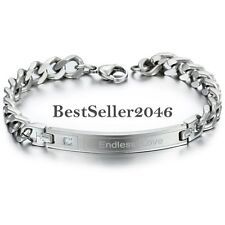 "Silver Stainless Steel Curb Cuban Chain "" Endless Love "" Promise ID Bracelet"