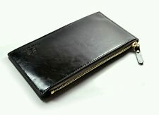 Leather Black Men Wallet Clutch  Money Clip with 15 cards Bits Zipper
