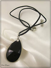 LOVELY GOTHIC BLACK GLASS & SILVER PENDANT ON WAXED CORD THONG NECKLACE (12)