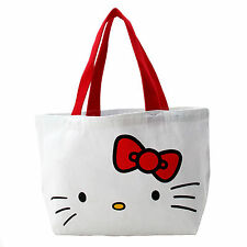 Women Girl Kid Children Hello Kitty Cotton Shopper Tote Carry Library Lunch Bag