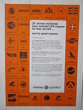 5/1973 PUB GENERAL ELECTRIC CF6 ENGINE 27 AIRLINES ZAIRE SAS VARIG ORIGINAL AD