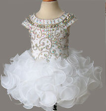 Custom Made Glitz Beaded Bodice Little Girls' Cupcake Pageant Dress For Party
