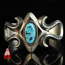 Vintage Navajo turquoise sandcast sterling silver 92.5 bracelet old pawn jewelry