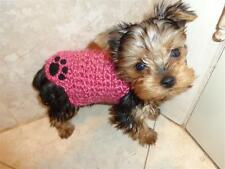 PURPLE sweater XXXS micro puppy dog YORKIE maltese chihuahua knit paw tiny