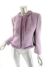 VALENTINO Miss V Lavender Wool/Mohair Blend Boucle Crop Jacket - PRETTY - 42/US8