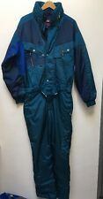 BX46 VTG MENS BLUE NEVICA SKIWEAR ALL IN ONE HOODED SKI SNOW SUIT SIZE MEDIUM 40