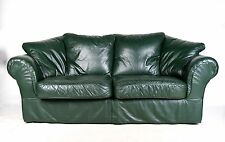 Sofa 3 Seater Green Leather Scroll Settee Large 2 Seater