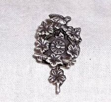 Vintage Silver 3D Mechanical EDELWEISS CUCKOO CLOCK Charm w/ SWINGING PENDULUM