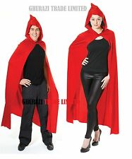 Red Hoodec Cape Long Deluxe Vampire Cloak Halloween Ladies Men's  Fancy Dress