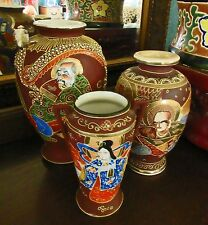 3 ANTIQUE,VTG. JAPANESE MORIAGE GILDED SATSUMA VASES,IMMORTALS,GEISHA,3D DRAGON